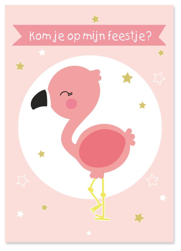 Uitnodiging kinderfeestje Flamingo