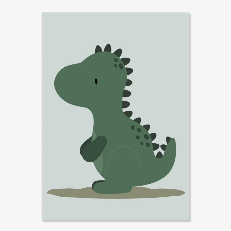 Poster met een leuke dino - dinosaurus - poster babykamer of kinderkamer
