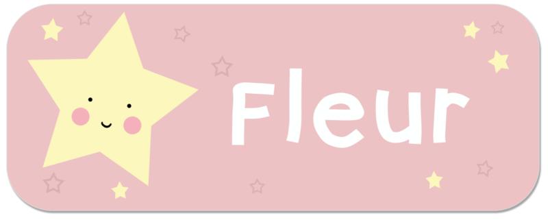Naamstickers met lieve ster type Fleur