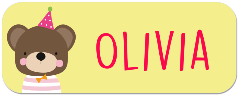 Naamstickers kind met beer type Olivia