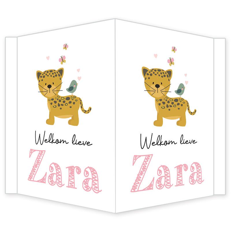 Geboortebord - Geboortebord raam met een leuke jaguar type Zara
