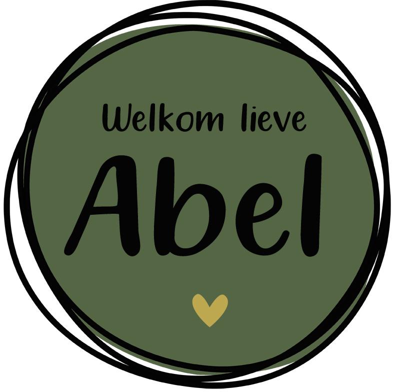 Geboortesticker full colour groen met cirkels en leuk hartje type Abel