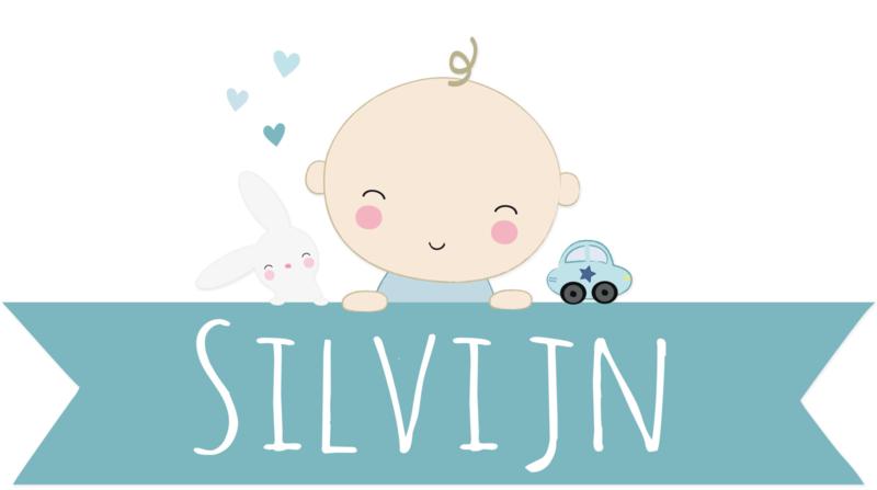 Geboortesticker baby met naam full colour type Silvijn