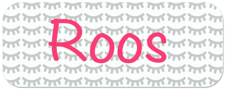 Naamstickers voor een meisje met wimpertjes type Roos