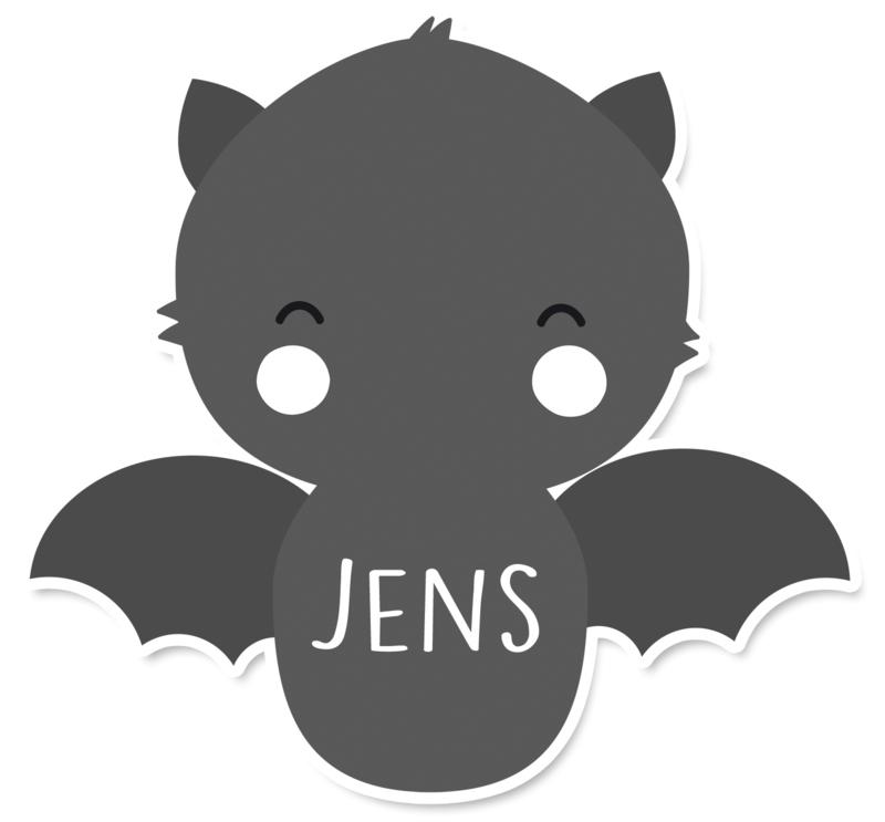 Naamstickers in vorm leuke vleermuis type Jens
