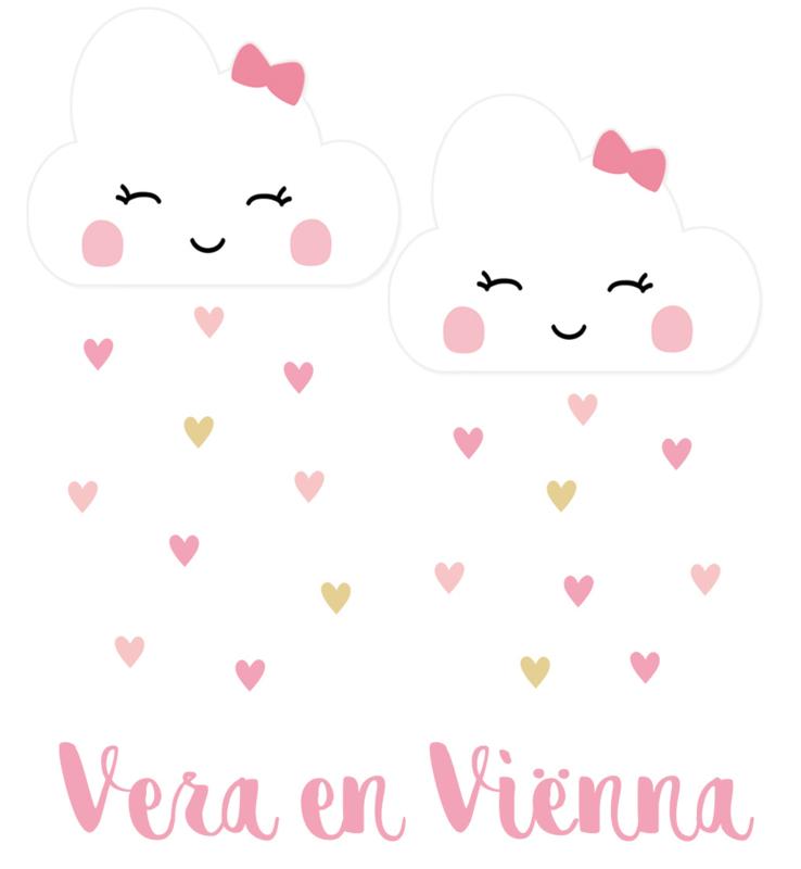 Geboortesticker wolkjes tweeling full colour type Vera en Viënna
