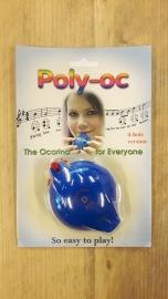 Poly-Oc Ocarina - 4 gaten - (Blauw / Rood)