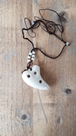 Necklace Ocarina - 6 holes - White - Accurate Tuning - Beautifully Crafted