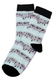 Muzikale Sokken (wit noten motief, maat 43-45)