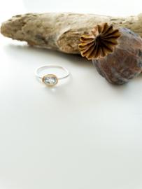 Ring: zilver/gold plated/ aquamarijn