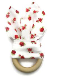 Bijtring Konijnen Oor Roosjes wit rood