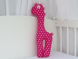 Giraf knuffel fuchsia roze kleine sterren wit