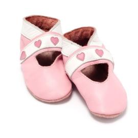 Baby Dutch babyslofjes hartje roze open