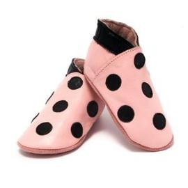 Baby Dutch babyslofjes roze met zwarte stippen