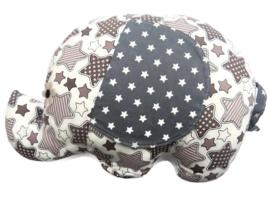 Olifanten Knuffel Grote Ster lichtbruin grijs