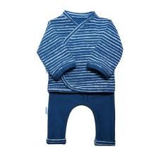 Prematuur setje blauw wit streepje uni broekje