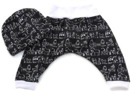 Babykleding Broekje + Mutsje Diertjes zwart wit