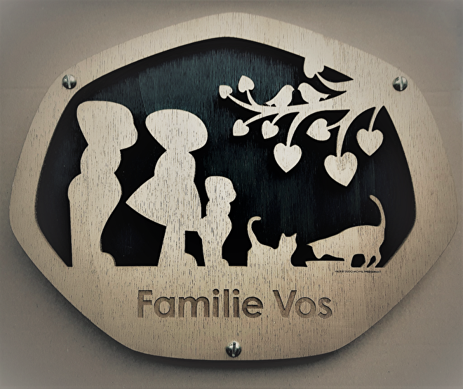 Naambord Familie Vos