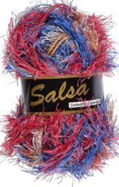 Lammy Yarns - Salsa 651 - Blauw oranje rood gemeleerd