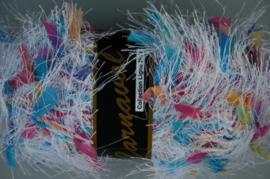Lammy Yarns - Carnaval 601 - Wit met blauw roze en geel