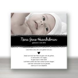 Christelijke Geboortetegel met foto - Handgetekende stijl