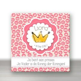 Geboortetegel 'Prinses' met naam en datum