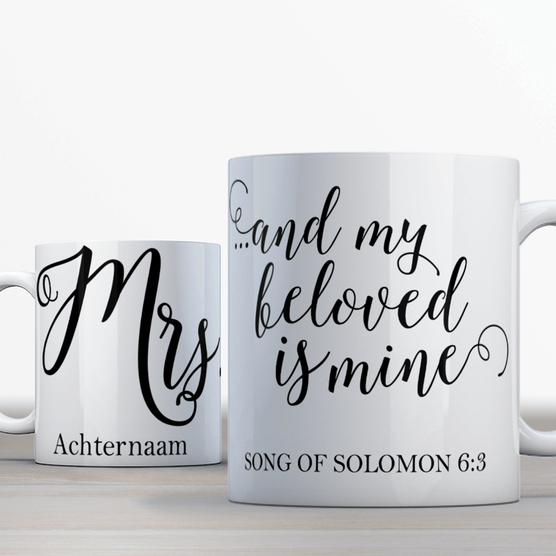Solomon 6:3 Mr Mrs set 2 mokken, gepersonalizeerd