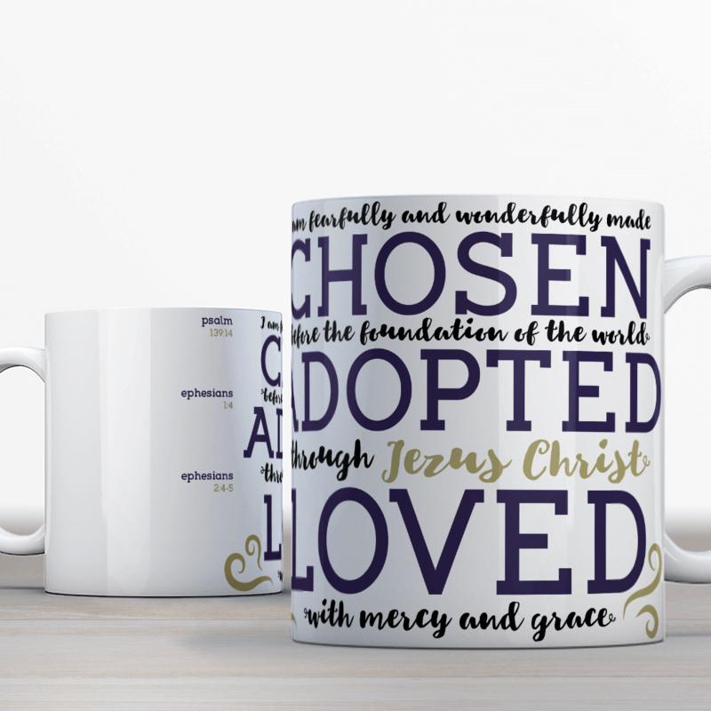 Bijbelmok 'Chosen, adopted, loved' (Engels)