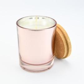 Geurkaarsje rosé met kurk deksel