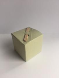Kubus doosje 5x5cm groen spikkel + stokje