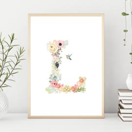 Poster bloemen enkel eerste letter