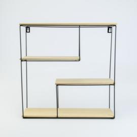 Metalen rek vierkant met 4 houten leggers
