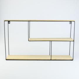 Metalen rek rechthoek met 3 houten leggers