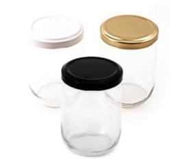 Glazen potje wit, goud of zwart deksel 100ml