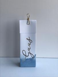 Hoog doosje wit aquarelle blauw