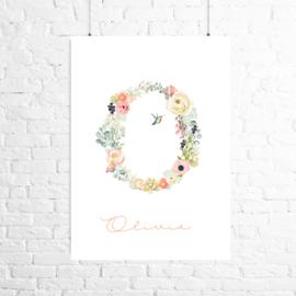 Poster bloemen eerste letter + naam