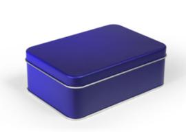 Blik doos rechthoek blauw