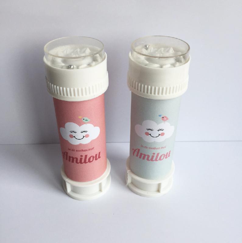 Bellenblazer wit + gepersonaliseerd label of sticker