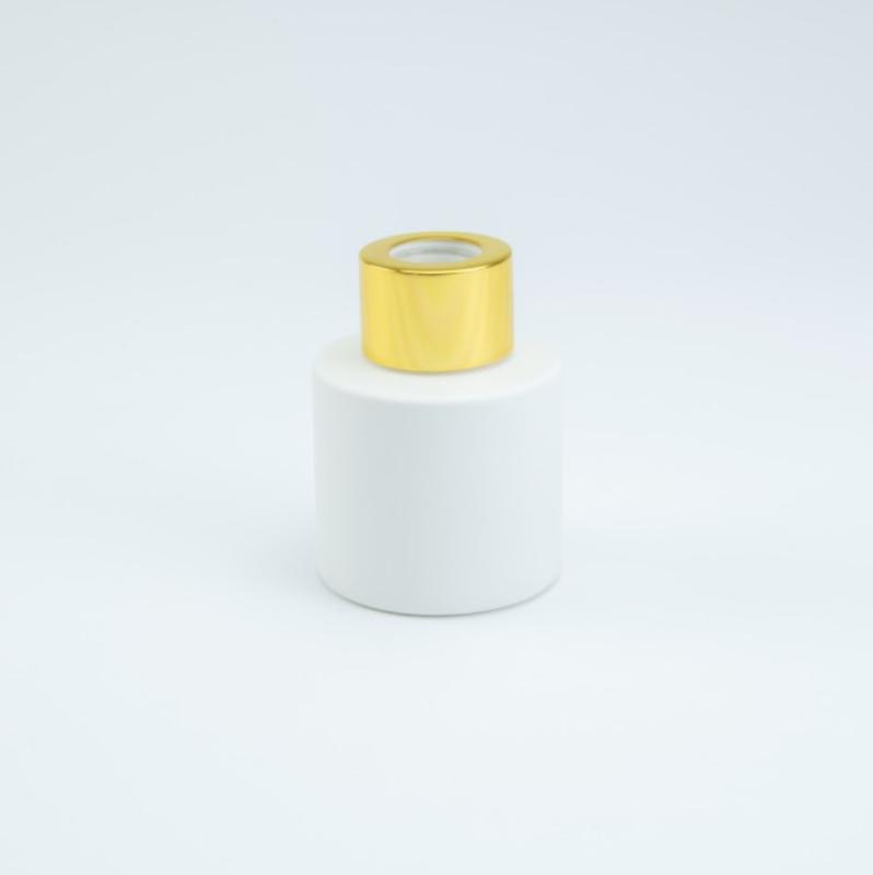 Glazen huisparfum wit met goud dop