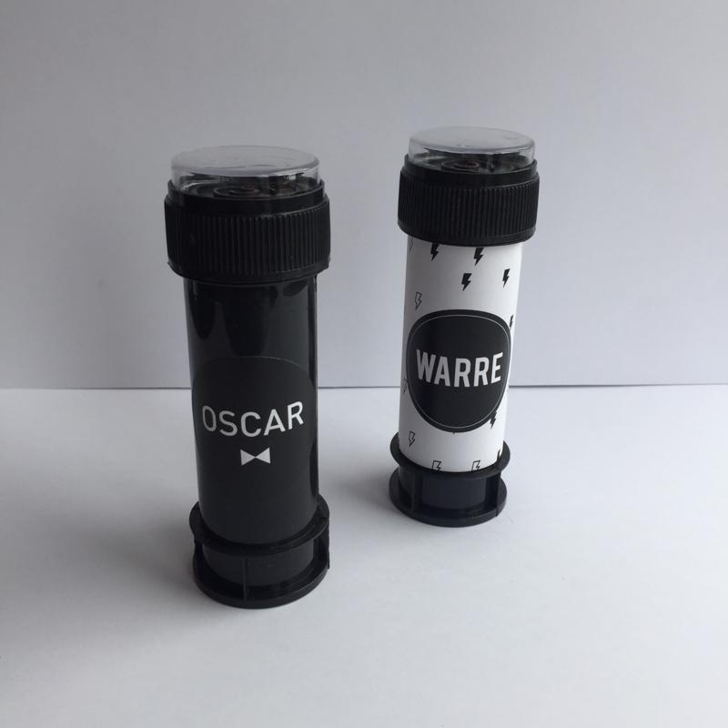 Bellenblazer zwart + gepersonaliseerd label of sticker