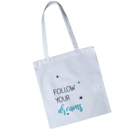 Witte katoenen tas - Follow your dreams