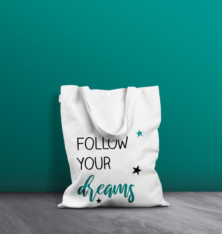 Witte katoenen tas - Follow your dreams