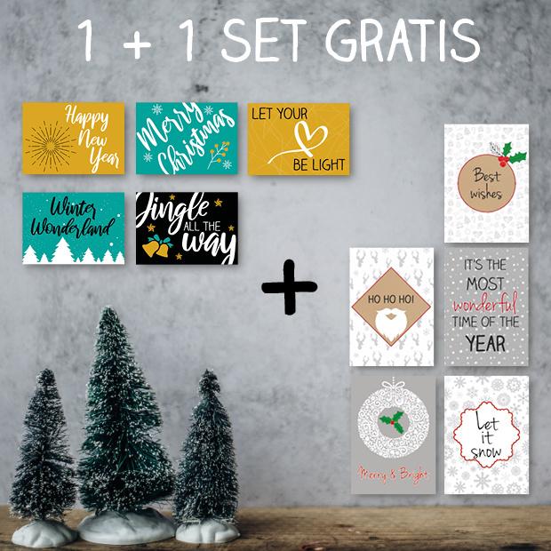 Kerstkaarten set (5 stuks) + 5 gratis