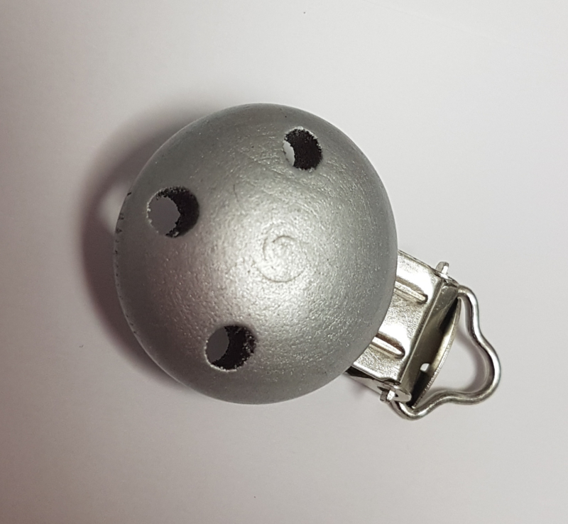 Speenketting Clip zilver/grijs