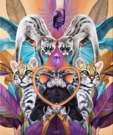 Ocelot, Civet & Raven x 2 - fine art print
