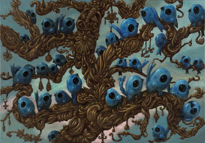 Blauwe vogels bomen van goud