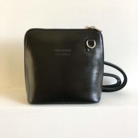 Giuliano Leren Handtasje met lang hengsel Zwart