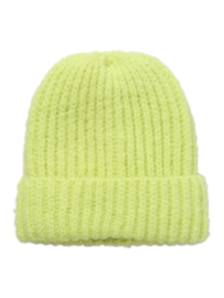 Pieces Isilina beanie fluo geel