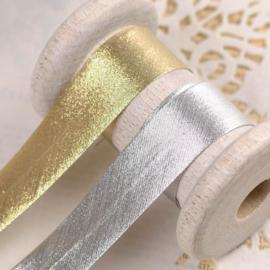 Biaisband lurex zilver 20 mm