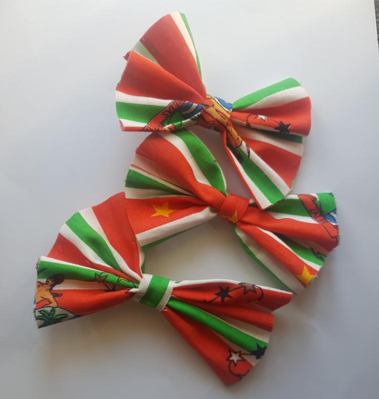 3x Suriname vlag haarstrikjes